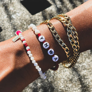 'YOUR TEAM' MOTHER OF PEARL BRACELET