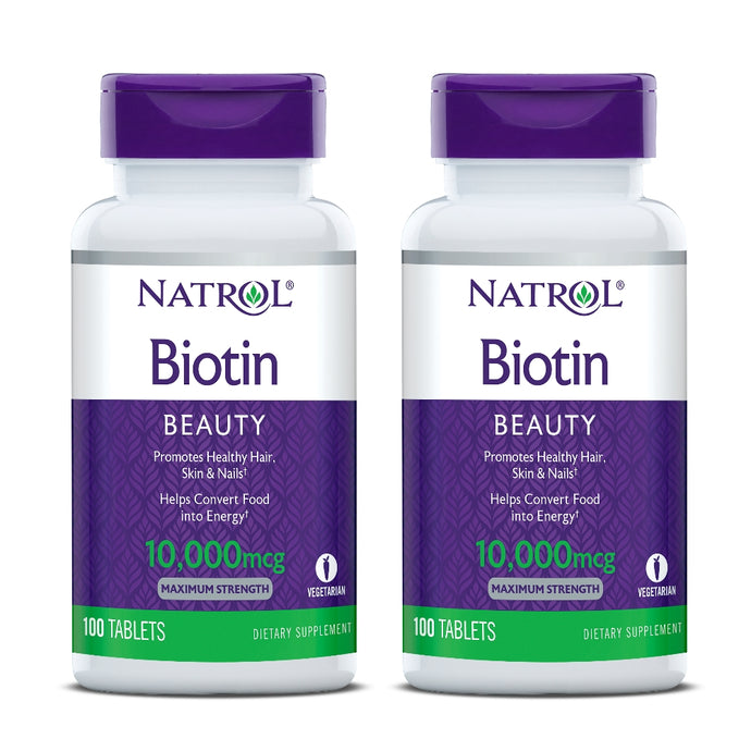 [Pack of 2] Natrol, Biotin, Maximum Strength, 10,000mcg, 100 Tablets - Buckwheat Healthcare Products Pte Ltd