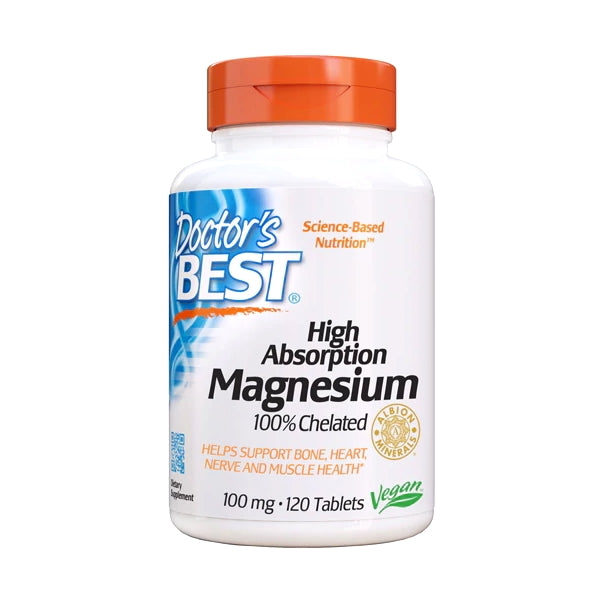 Doctor's Best, High Absorption Magnesium, 100mg, 120 Tablets - Buckwheat Healthcare Products Pte Ltd
