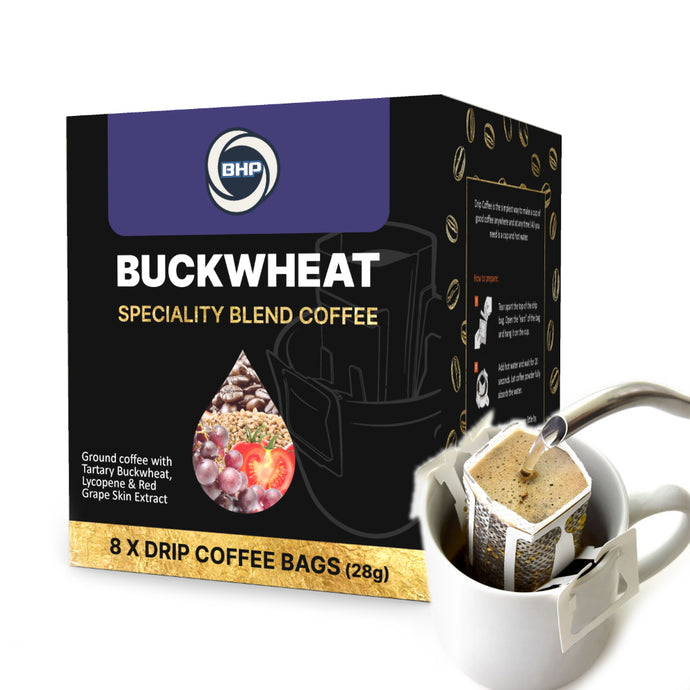 BHP Buckwheat Specialty Blend Coffee, 8 Drip Bags x 28g - Buckwheat Healthcare Products Pte Ltd