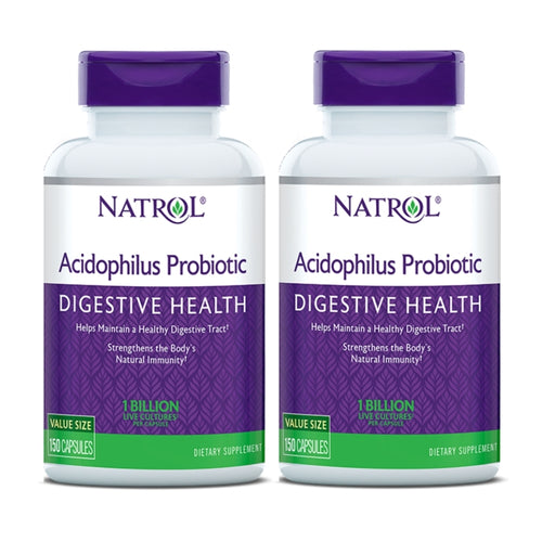 [Pack of 2] Natrol, Acidophilus Probiotic, 1 Billion Live Cultures, 150 Capsules - Buckwheat Healthcare Products Pte Ltd