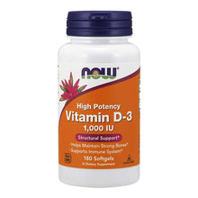 Load image into Gallery viewer, Now Foods, Vitamin D-3, 1000 IU, 180 Softgels - Buckwheat Healthcare Products Pte Ltd