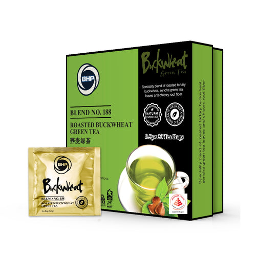 BHP Blend 188: Roasted Buckwheat Green Tea, 30 Tea Bags x 9.5g - Buckwheat Healthcare Products Pte Ltd