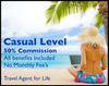 Casual Agent Program- Book travel for yourself, family and friends.  Get the lowest Agency pricing and never have to price shop again!  This is fun and easy for everyone. 50% commission - No monthly fee.