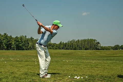 A person practicing his swing