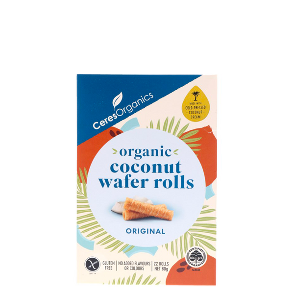 CERES ORGANICS ORGANIC COCONUT WAFER ROLLS ORIGINAL 80G