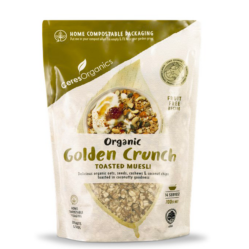 CERES ORGANICS GOLDEN CRUNCH ORGANIC TOASTED MUESLI 700G