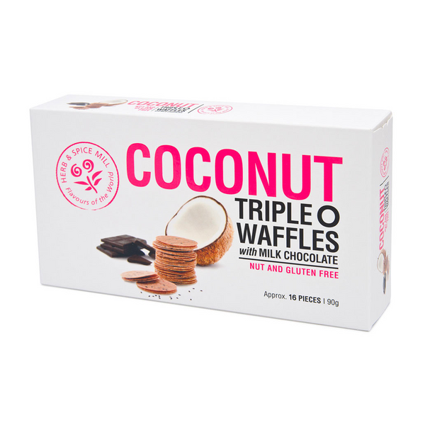 HERB & SPICE MILL COCONUT TRIPLE O WAFERS COCOA 90G