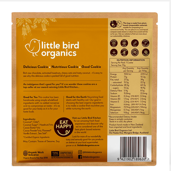 LITTLE BIRD ORGANICS GOOD HAZELNUT CHOCOLATE CHIP COOKIE