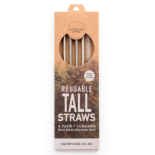 CALIWOODS TALL REUSABLE STRAWS 4 PACK + CLEANER