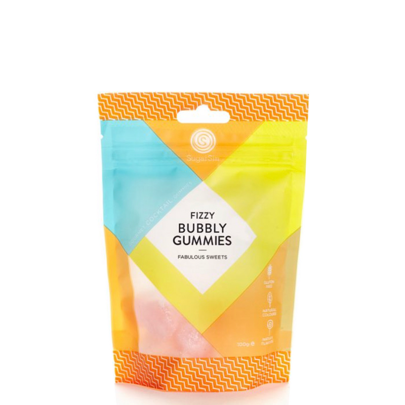SUGARSIN COCKTAIL CANDY FIZZY BUBBLY GUMMIES POUCH 100G