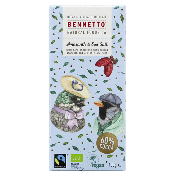BENNETTOS AMARANTH & SEA SALT CHOCOLATE 100G