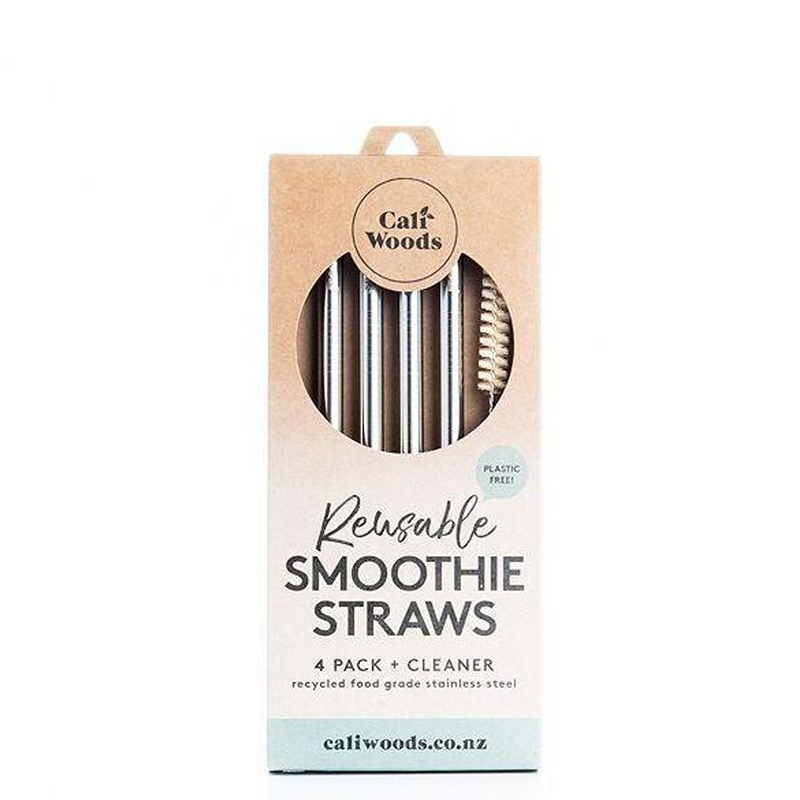 CALIWOODS STRAINLESS STEAL REUSABLE SMOOTHIE STRAWS  4 PACK + CLEANER