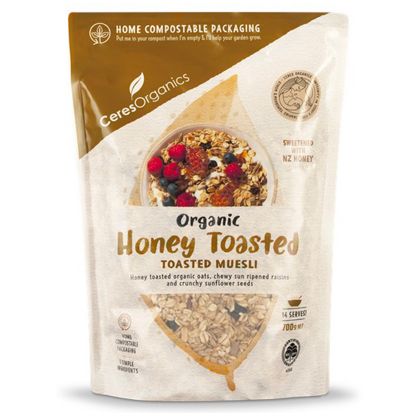CERES ORGANICS HONEY TOASTED ORGANIC MUESLI 700G