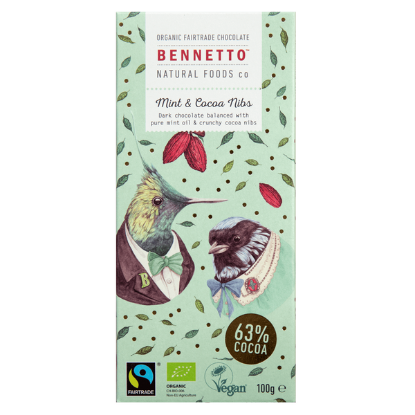 BENNETTOS MINT & CACAO NIBS CHOCOLATE 100G