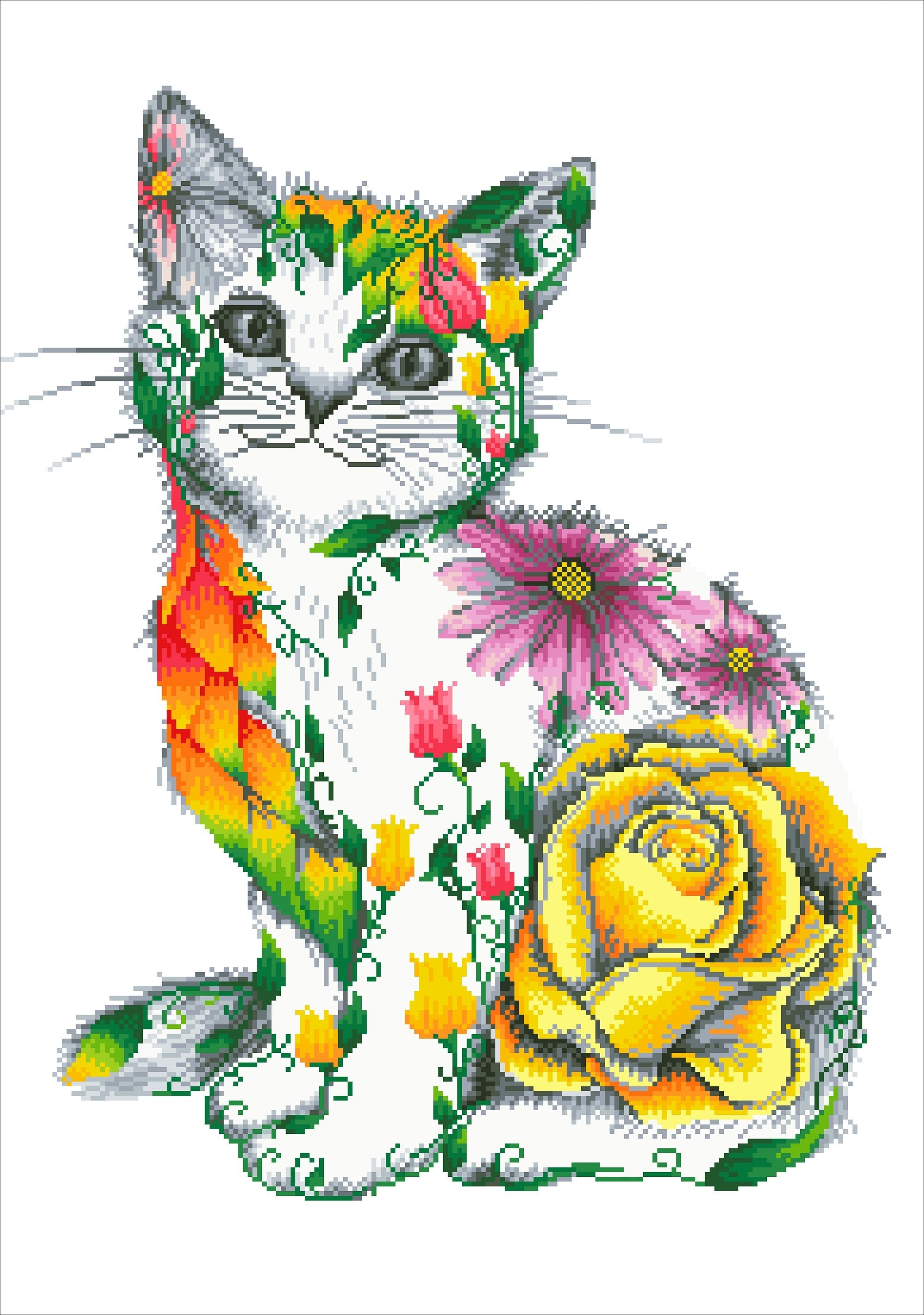 Flower power kat diamond painting