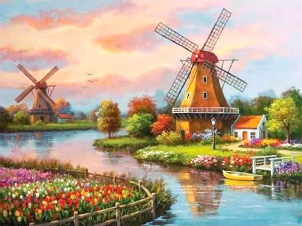hollands landschap met molens en tulpen diamond painting