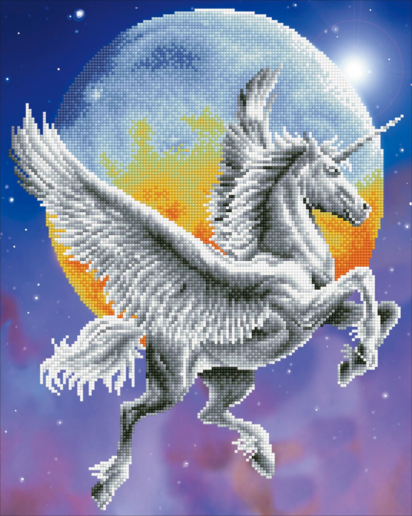 Unicorn vliegt in de nacht diamond painting