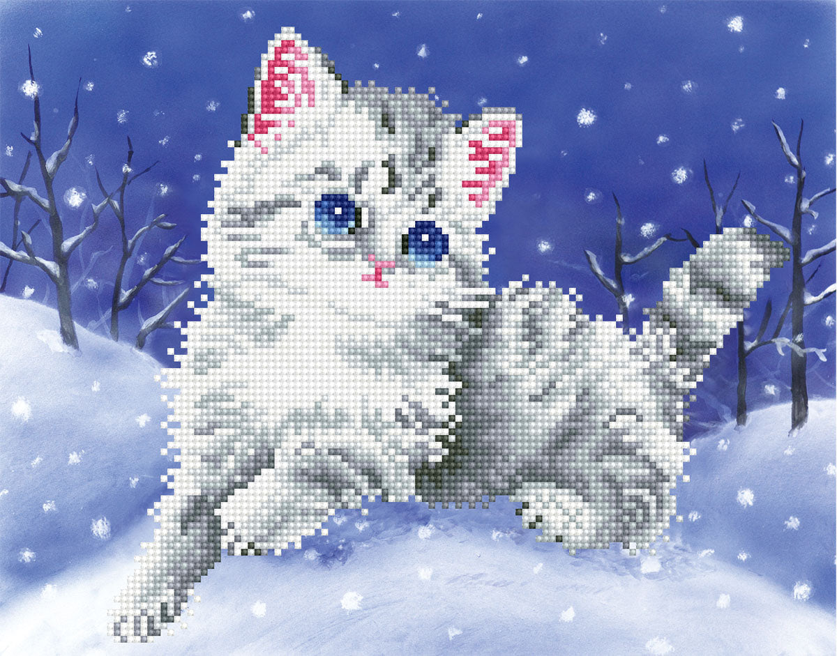 Kitten in de sneeuw diamond painting