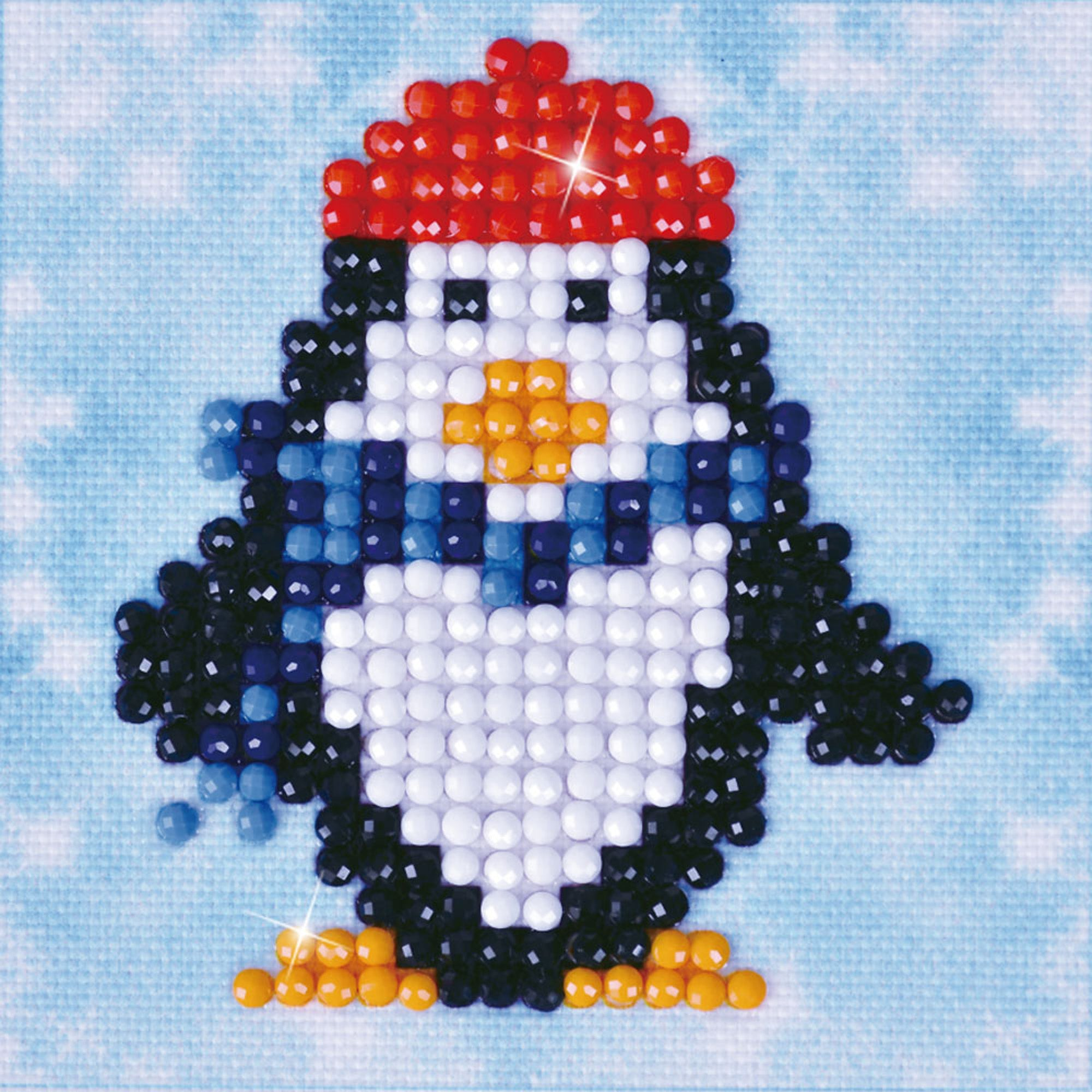 Pinguin met rode muts diamond painting
