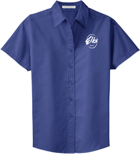 Port Authority Custom Elks Ladies Short Sleeve Easy Care Shirt in Ultramarine