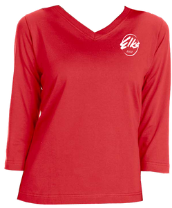 Custom Elks LAT Ladies' Premium Jersey 3/4 Sleeve T-Shirt in Red