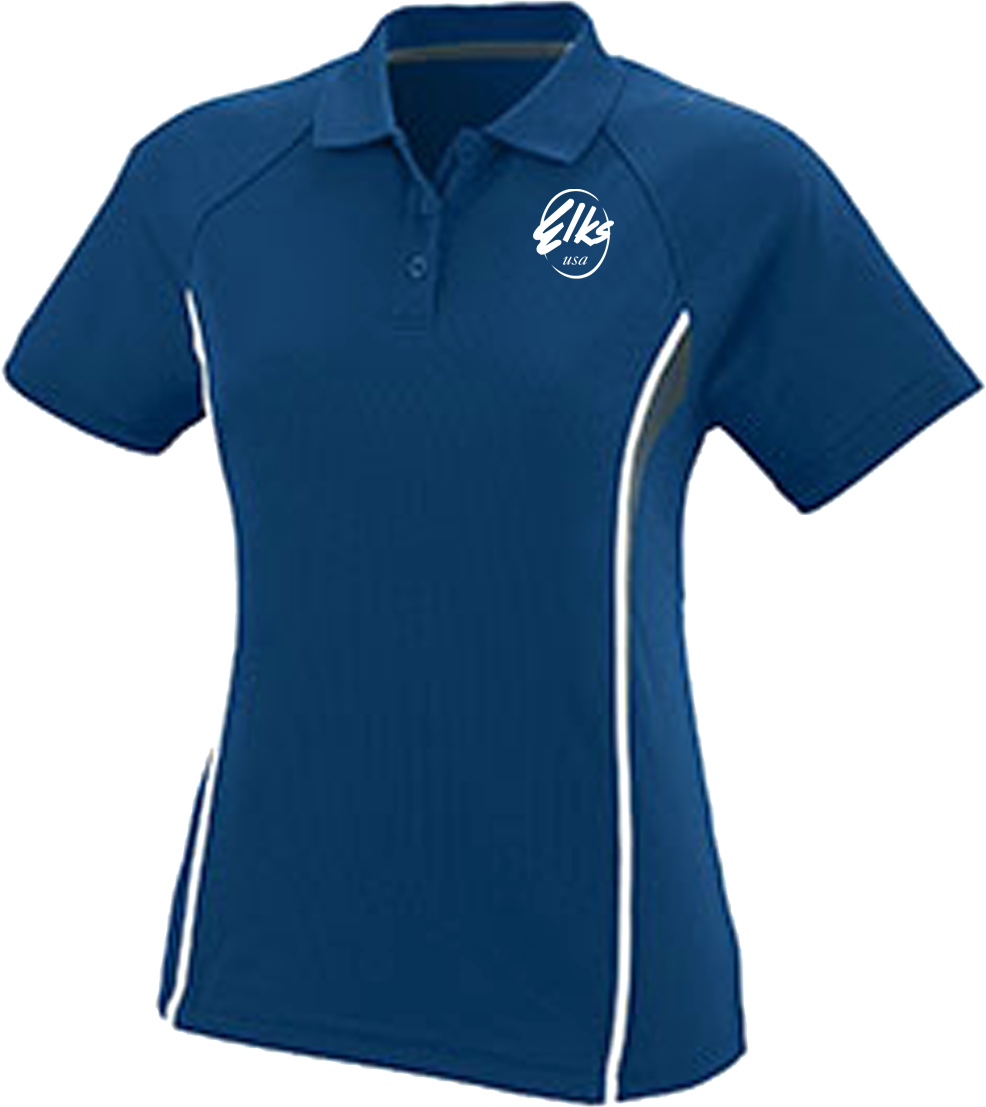 Augusta Ladies Wicking Polyester Mesh Sport Shirt with Contrast Inserts custom Elks in Royal Blue
