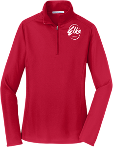 Port Authority Ladies Pinpoint Mesh 1/2 Zip in red