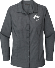 Load image into Gallery viewer, Custom Elks Port Authority Pincheck Easy Care Shirt in Black & Gray