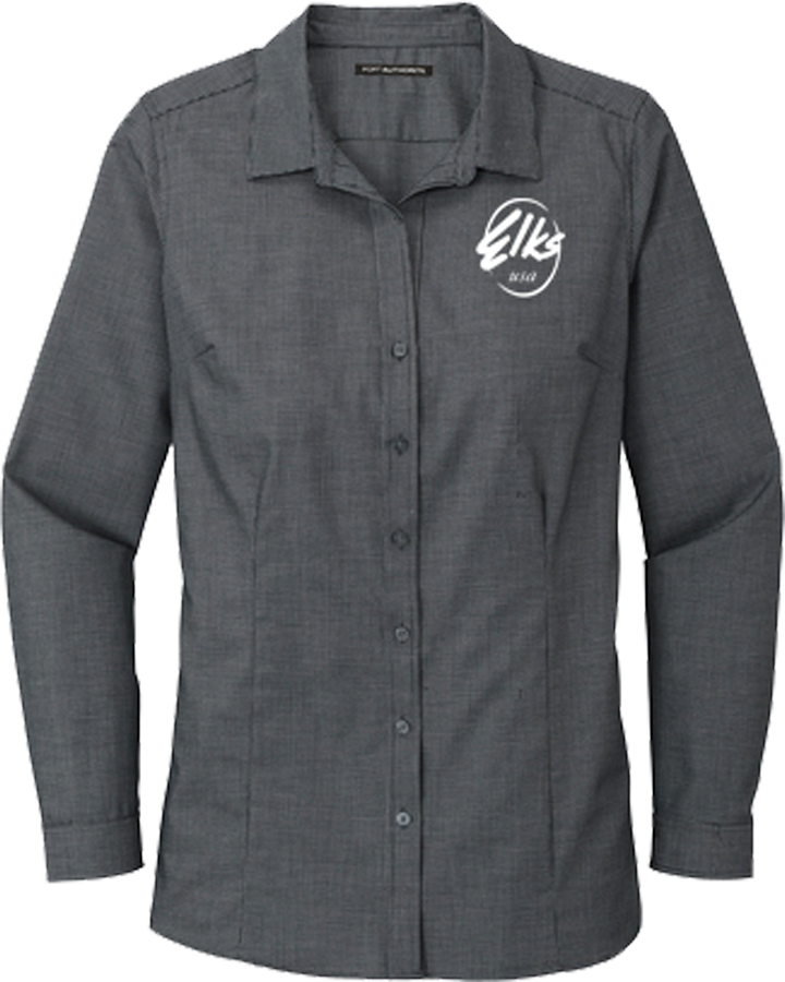 Custom Elks Port Authority Pincheck Easy Care Shirt in Black & Gray