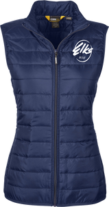 Core 365 Custom Elks Ladies Prevail Packable Puffer Vest Front in Navy
