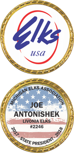Custom Elks Challenge Coin in Gold