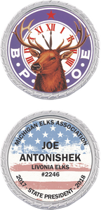 Custom Elks Challenge Coin in Silver