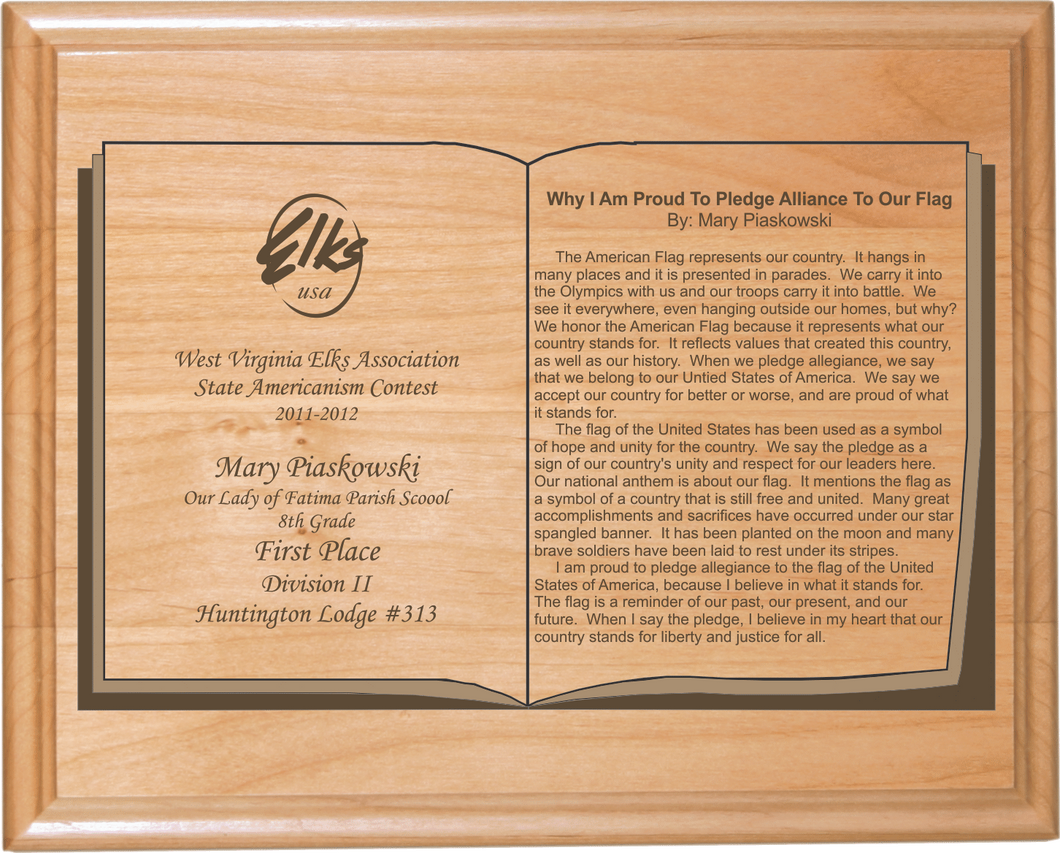 Red Alder Custom Engraved Essay Plaque