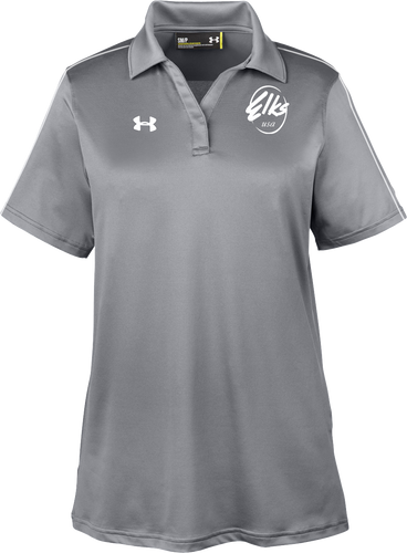 Custom Elks Ladies Under Armour Tech Polo in Graphite and White