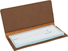 Load image into Gallery viewer, Dark Brown Laserable Leatherette Checkbook Cover