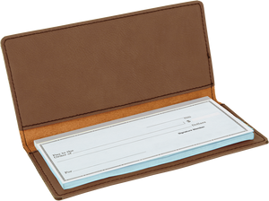 Dark Brown Laserable Leatherette Checkbook Cover