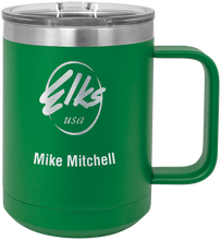Load image into Gallery viewer, 15 oz. Vacuum Insulated custom elks polar camel mug with slider lid in green