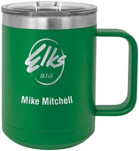 15 oz. Vacuum Insulated custom elks polar camel mug with slider lid in green