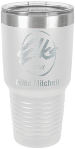 30 oz white ringneck custom elks tumbler with clear lid