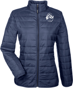 Port Authority Core 365 custom Elks Ladies' Prevail Packable Puffer Jacket in Navy