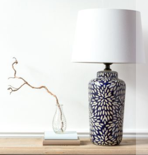 Indigo Petales Lamp with Neutral Shade 65cm - Susan Clark Interiors