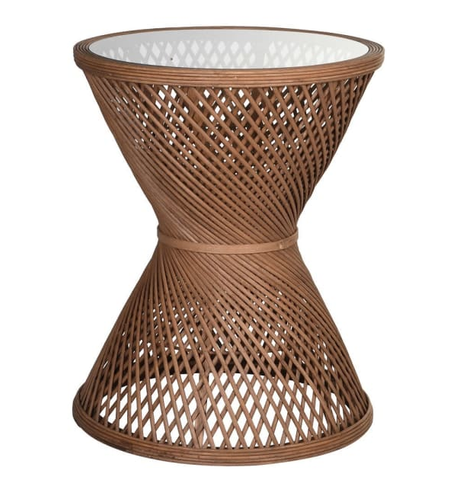 Cane Criss Cross Side Table
