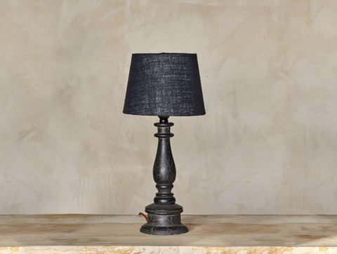 Candlestick Crackle Lamp Black (35x12cm) with Shade