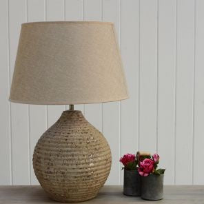 Lamp Ceramic Porcia with Taupe Shade 40x40x56cm - Susan Clark Interiors