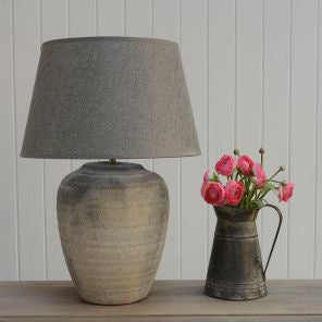 Lamp ceramic Hortus with Grey shade - Susan Clark Interiors