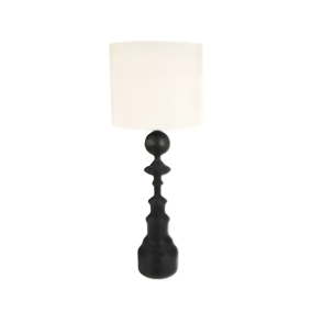 Spire Black Wooden Lamp with Linen Shade
