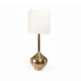 Cue Tall Brass Lamp with Linen Shade