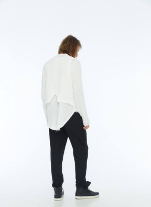 FRAYED SHIRT & VEST (WHITE)