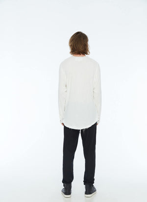 FRAYED COLLARLESS SHIRT (WHITE)